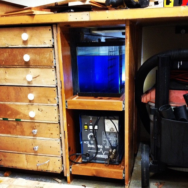Slide out storage for the etching tank and power supply. - A SPWS One Shot
