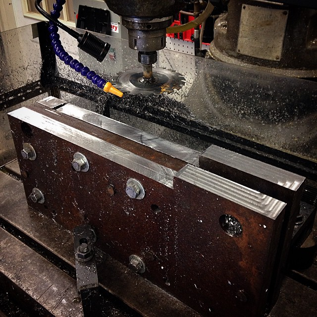 Skil saw blade welded to a bolt was so much quicker than milling all of that steel away!