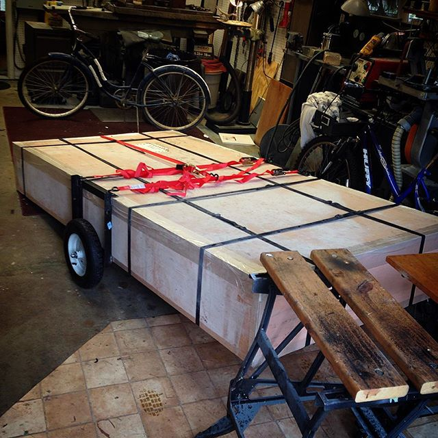 Pentayurt bike trailer, Mark II. Still working out details but initial trials are promising.