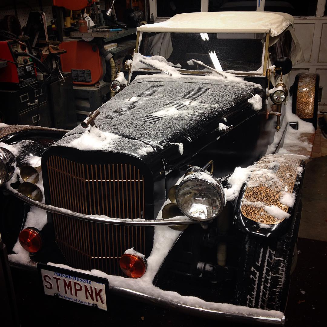 It's hard to clean snow off a car with so many nooks and crannies!