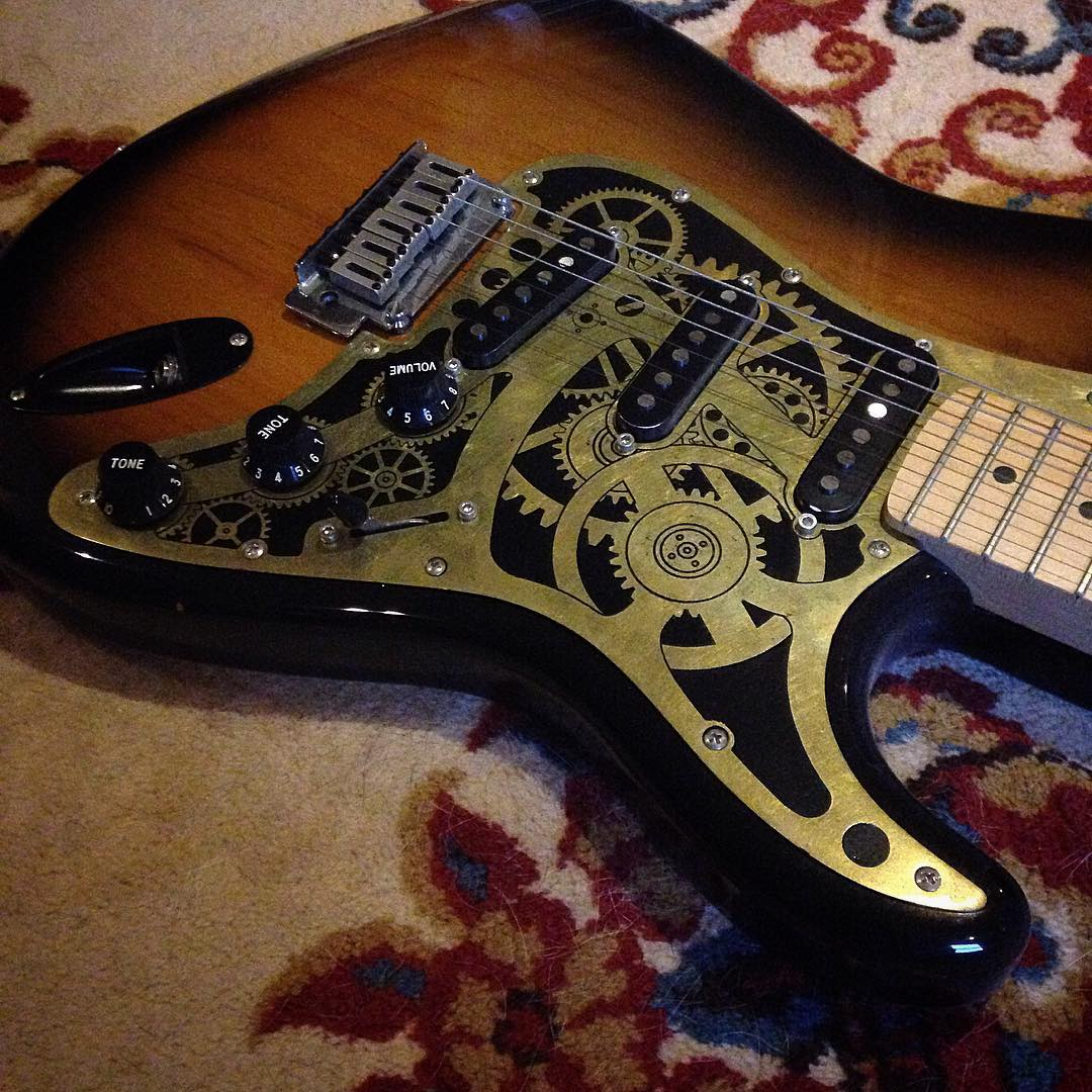 Rare chance at a Steampunk Strat pick guard! http://con-or-bust.org/author/186/