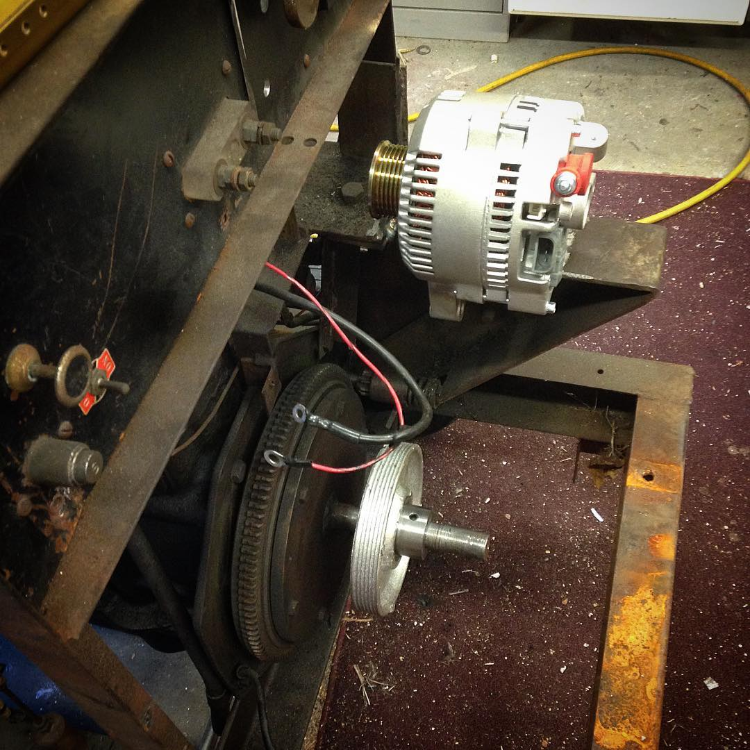 3D printed lost PLA cast pulley mounted along with 250 amp alternator. I hope to be welding by next weekend!