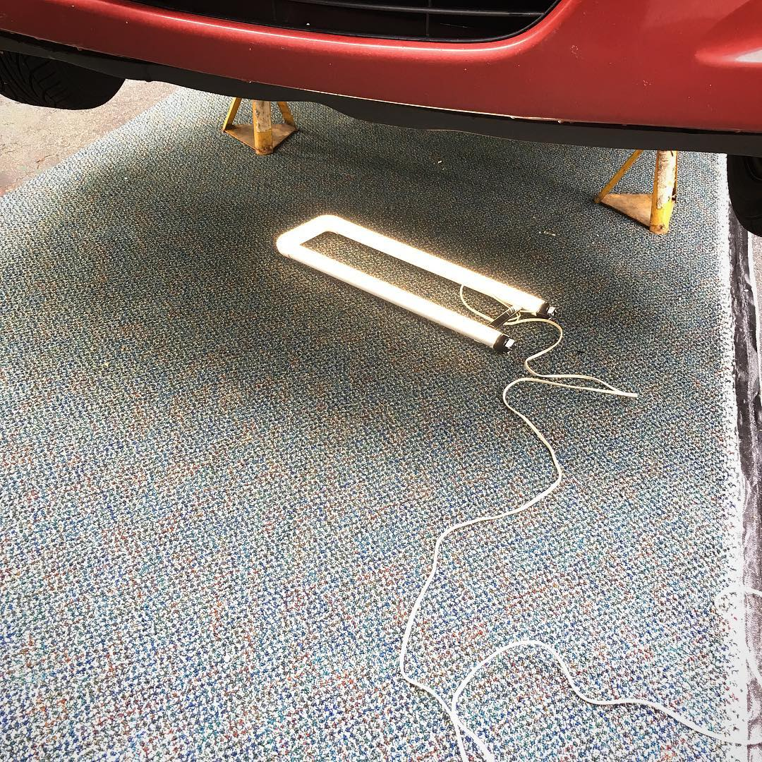 Leftovers from office renovation at the day job make car care day easier and more comfortable. TIL: some LED conversion bulbs do not need ballasts!