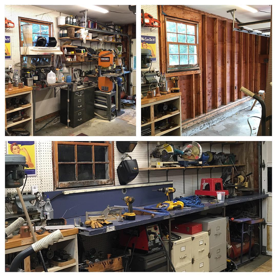 Stripped, insulated, and built new benches from reclaimed steel doors. Looking forward to a welding area that doesn't catch on fire anymore.