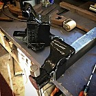 "Just need to wait for the paint to dry and then I'll grease it up and install it on the bench in the blacksmith ""shop""."
