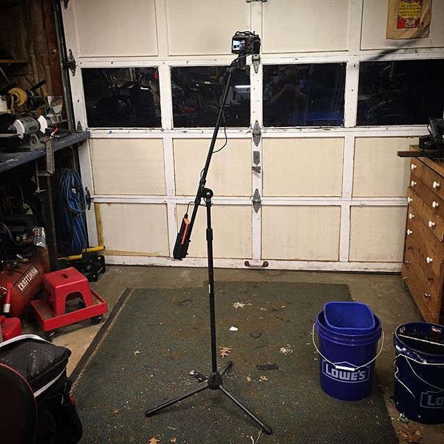 My current rig for filming projects in the workshop. Nikon Coolpix L820, microphone stand, 3D printed camera to microphone stand adapter (search thingiverse for vonslatt) usb power cable and 10ah usb power pack. I can film for days without recharging and the stand takes up far less floor space than a tripod.