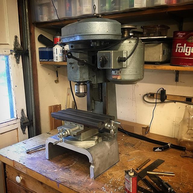 The mill attachment from my lathe interfered with tailstock operations so I got a little XY table and chopped up a NEMA enclosure to make a base for it.