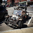 Stumbled across this wonderfully executed post apocalyptic steampunk rat buggy in Camden, ME. I want one!