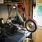 """Beginnings of a surface grinder attachment for the 2x72"""" belt grinder."""