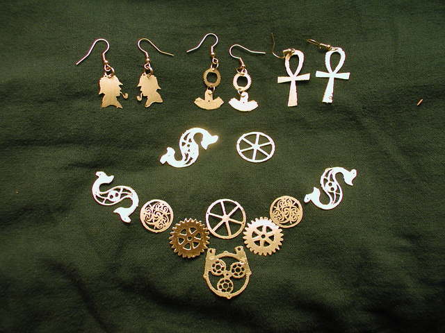 Sherlockian brass earrings, Ankh and cog earrings, and gear necklace