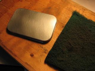 Altoids tin and Scotchbright