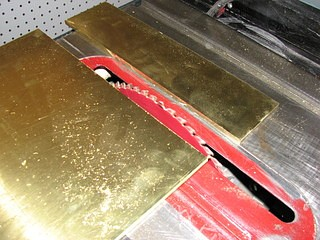 cutting brass on a tabel saw