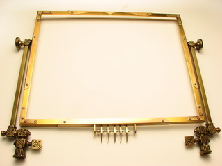 frame with brass trim pieces