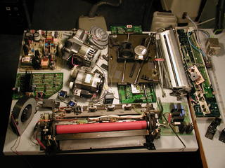 motors and hardware salvaged from a xerox copier